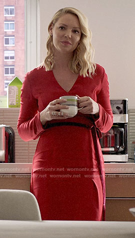 Samantha's red long sleeved dress on Suits