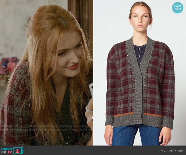 Sandro Oversized Checked Cardigan worn by Kirby Anders (Maddison Brown) on Dynasty