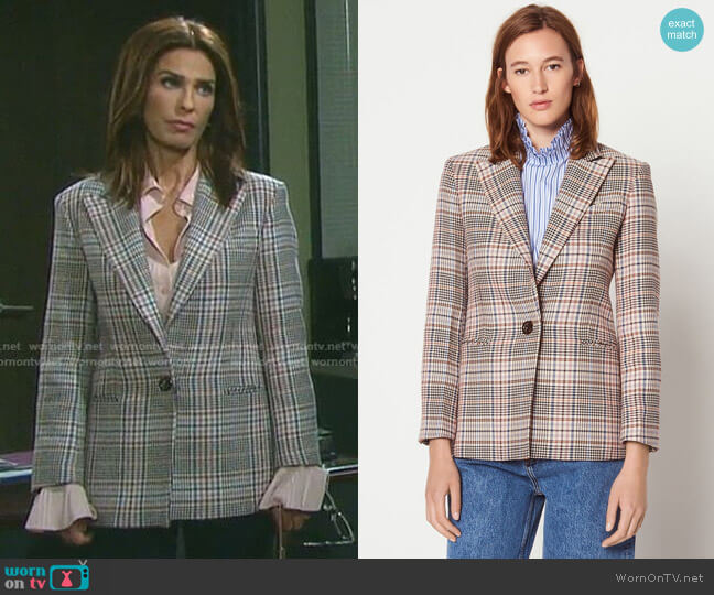 Sandro Checked Tailored Jacket worn by Hope Williams (Kristian Alfonso) on Days of our Lives