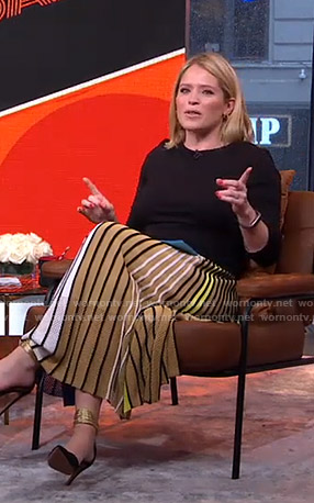 Sara's colorblocked striped midi skirt on GMA Strahan and Sara