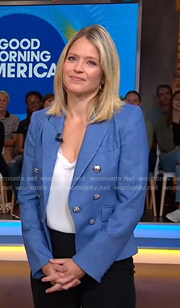 Sara's blue blazer with silver buttons on Good Morning America