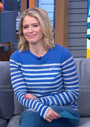 Sara's blue striped sweater with embellished star on GMA Strahan And Sara