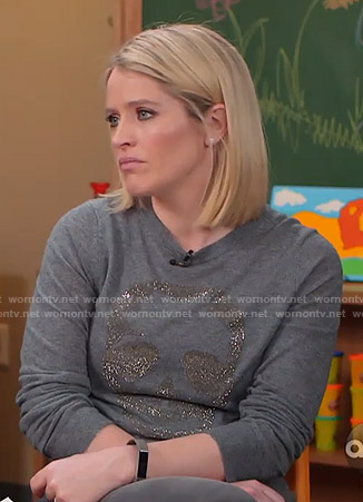 Sara's grey skull sweater on GMA Strahan And Sara