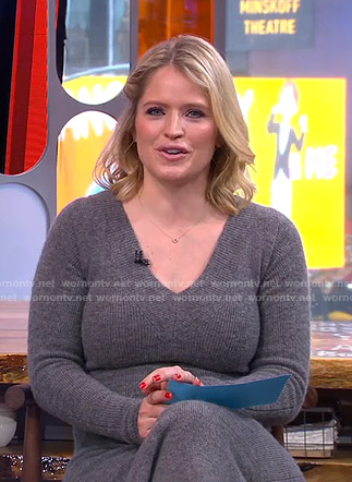 Sara's grey v-neck sweater dress on GMA Strahan and Sara