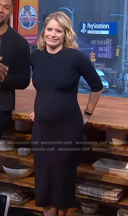Sara's navy fitted dress on GMA Strahan And Sara