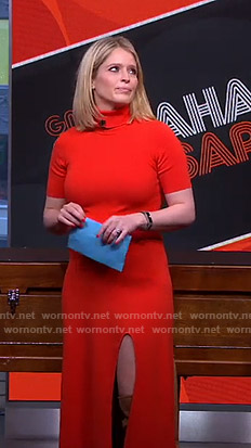 Sara's red turtleneck slit dress on GMA Strahan and Sara