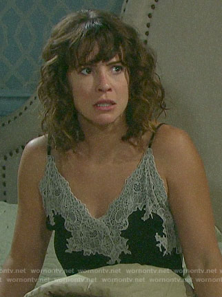 Sarah's black and white lace trim chemise on Days of our Lives