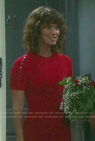 Sarah's red ribbed dress with snap buttons on Days of our Lives