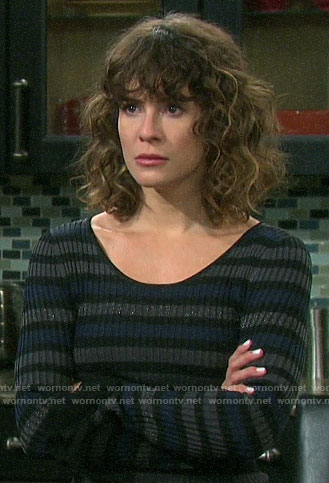 Sarah's metallic striped top on Days of our Lives
