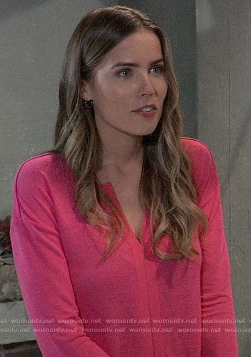 Sasha's pink split-neck top on General Hospital