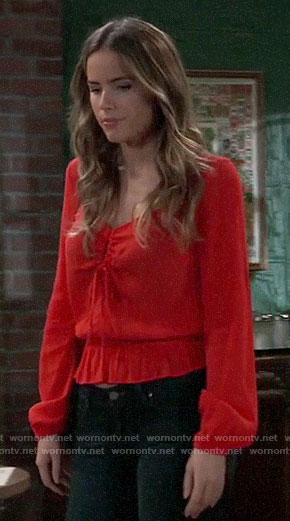 Sasha's red keyhole top on General Hospital