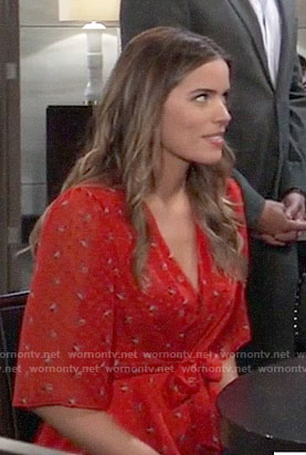 Sasha's red floral tie-front top on General Hospital