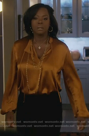 Annalise's metallic tie neck blouse on How to Get Away with Murder