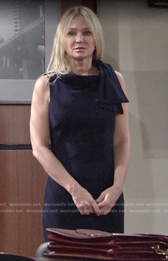 Sharon's navy bow shoulder dress on The Young and the Restless