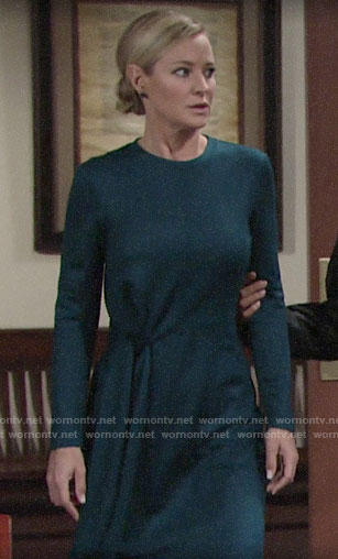 Sharon's teal long sleeved tie front dress on The Young and the Restless