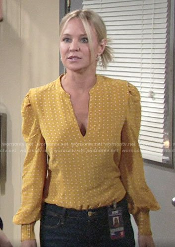 Sharon's yellow dotted blouse on The Young and the Restless