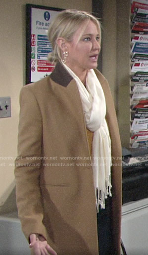 Sharon's camel coat on The Young and the Restless