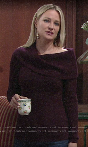 Sharon's purple off-shoulder sweater and brown earrings on The Young and the Restless