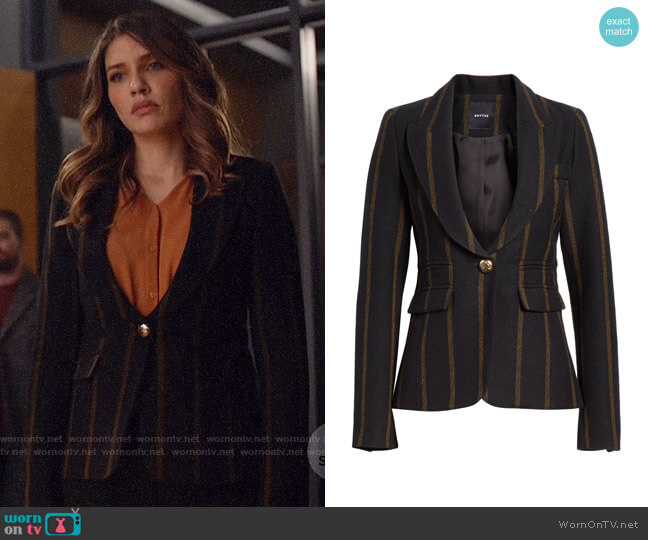 Smythe Stripe Peak Lapel Wool Blazer worn by Dinah Drake (Juliana Harkavy) on Arrow