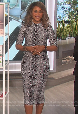 Eve's snake print midi dress on The Talk