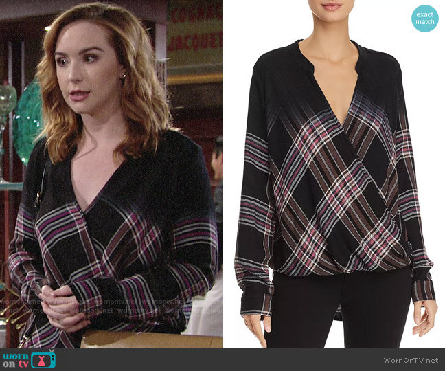 Splendid Hyperion Dip-Dye Plaid Top worn by Mariah Copeland (Camryn Grimes) on The Young & the Restless