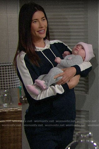 Steffy's navy colorblock hoodie on The Bold and the Beautiful