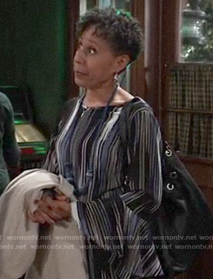 Stella's black and blue patterned bell-sleeve top on General Hospital