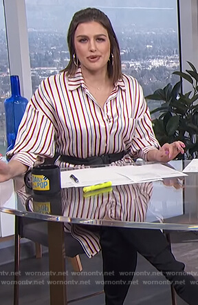 Carissa's striped shirtdress on E! News Daily Pop