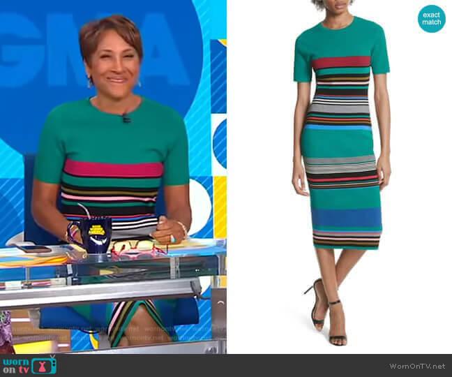 Stripe Short Sleeve Sweater Dress by Diane von Furstenberg worn by Robin Roberts  on Good Morning America