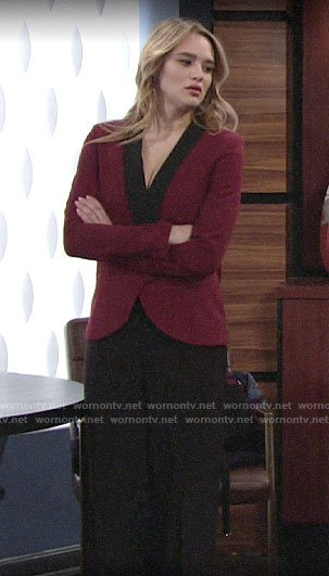 Summer's black jumpsuit and red blazer on The Young and the Restless