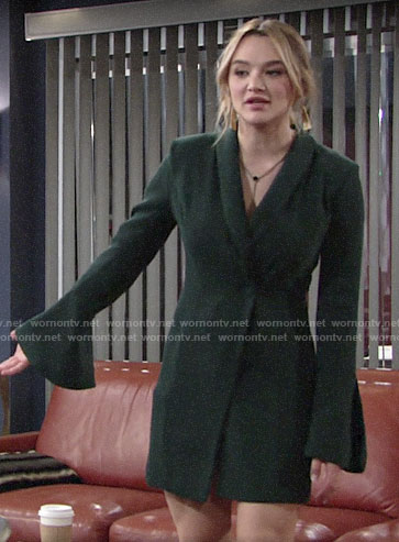Summer's green bell-sleeve dress on The Young and the Restless