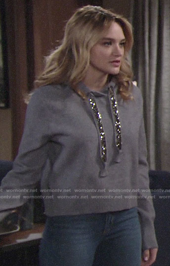 Summer's hoodie with embellished ties on The Young and the Restless