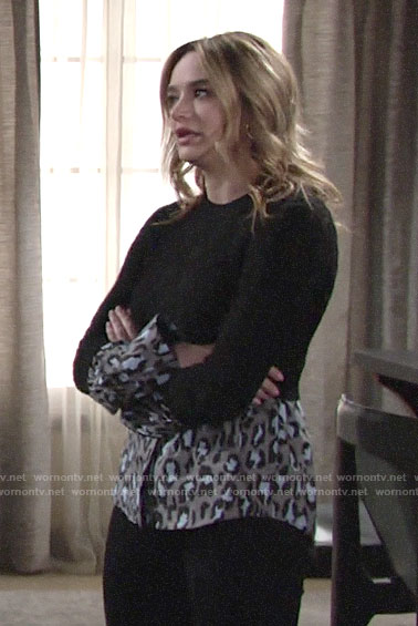 Summer's black sweater with leopard shirt on The Young and the Restless
