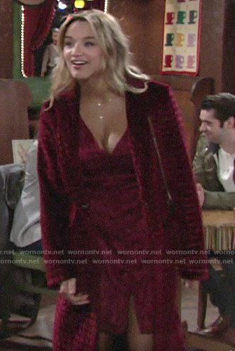 Summer's long red velvet coat and dress on The Young and the Restless