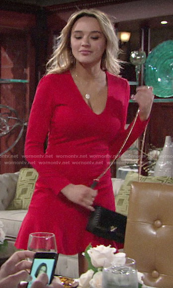 Summer's red long sleeved v-neck dress on The Young and the Restless