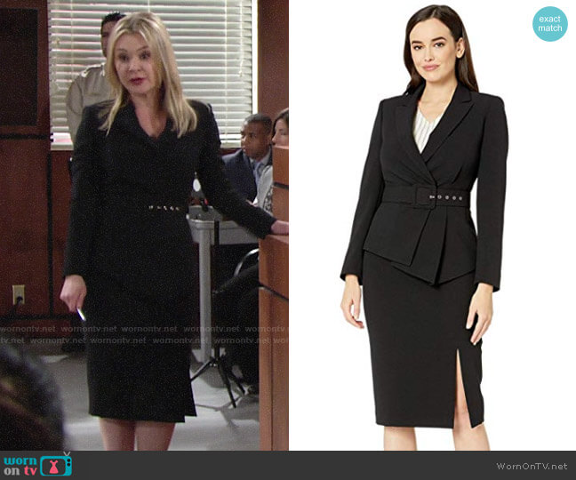 Tahari ASL Asymmetrical Belted Skirt Suit worn by Brittany on The Young and the Restless