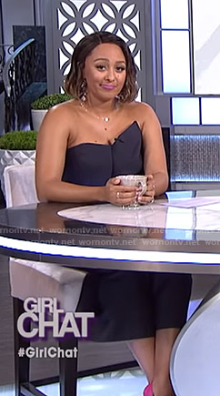 Tamera's navy strapless jumpsuit on The Real