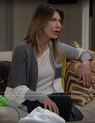 Taylor's grey colorblock cardigan on The Bold and the Beautiful