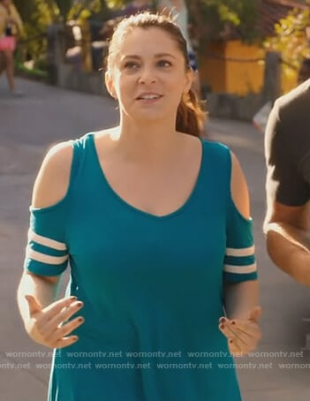 Rebecca's teal cold-shoulder top on Crazy Ex Girlfriend