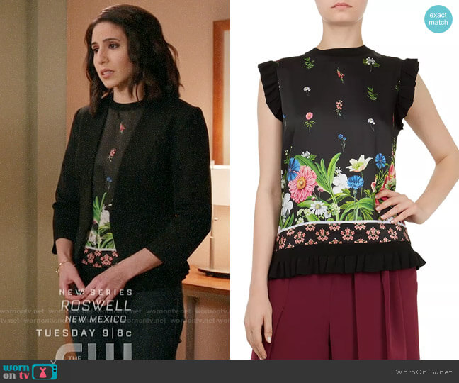 Ted Baker Myshell Florence Frill-Trim Top worn by Valencia Perez (Gabrielle Ruiz) on Crazy Ex-Girlfriend