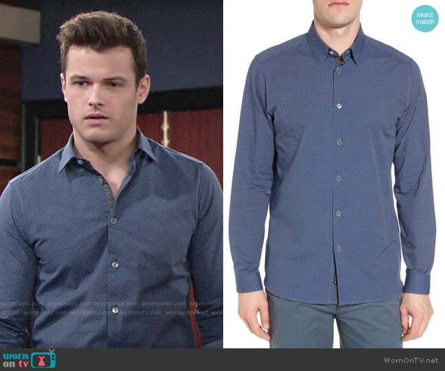 Ted Baker Holic Trim Fit Geometric Sport Shirt worn by Kyle Abbott (Michael Mealor) on The Young & the Restless
