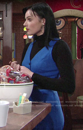 Tessa's blue jumpsuit and black turtleneck on The Young and the Restless