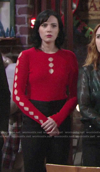 Tessa's red cutout top on The Young and the Restless