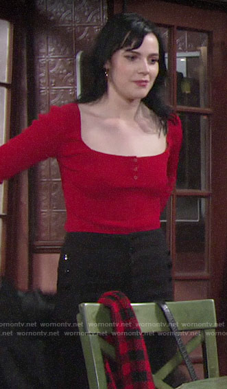 Tessa's red square-neck top and black jeans on The Young and the Restless