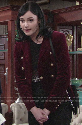 Tessa's red velvet blazer on The Young and the Restless
