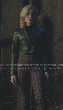 The Frost Sisters's cropped leather jacket and plaid pants on The Gifted
