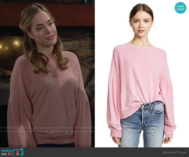 The Great The Bishop Sleeve Sweatshirt worn by Hope Logan (Annika Noelle) on The Bold & the Beautiful