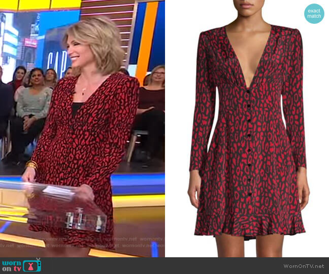 Animal Print A-Line Silk Dress by The Kooples worn by Amy Robach  on Good Morning America