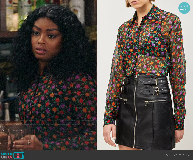 The Kooples Floral-print cropped silk-chiffon shirt worn by Ali Finer (Javicia Leslie) on God Friended Me
