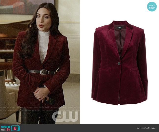 Theory Classic Velvet Blazer worn by Cristal Jennings (Daniella Alonso) on Dynasty